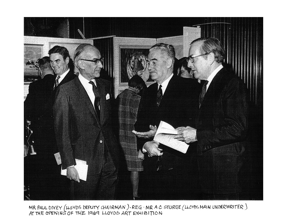 B&W photo of Mr Paul Dixey, Chairman of Lloyd's, opening the 1969 Lloyd's Art Exhibition