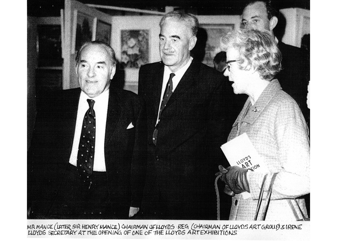 B&W photo 1971 Lloyd' Chairman Henry Mance opening the Lloyd's Art Group Autumn Exhibition