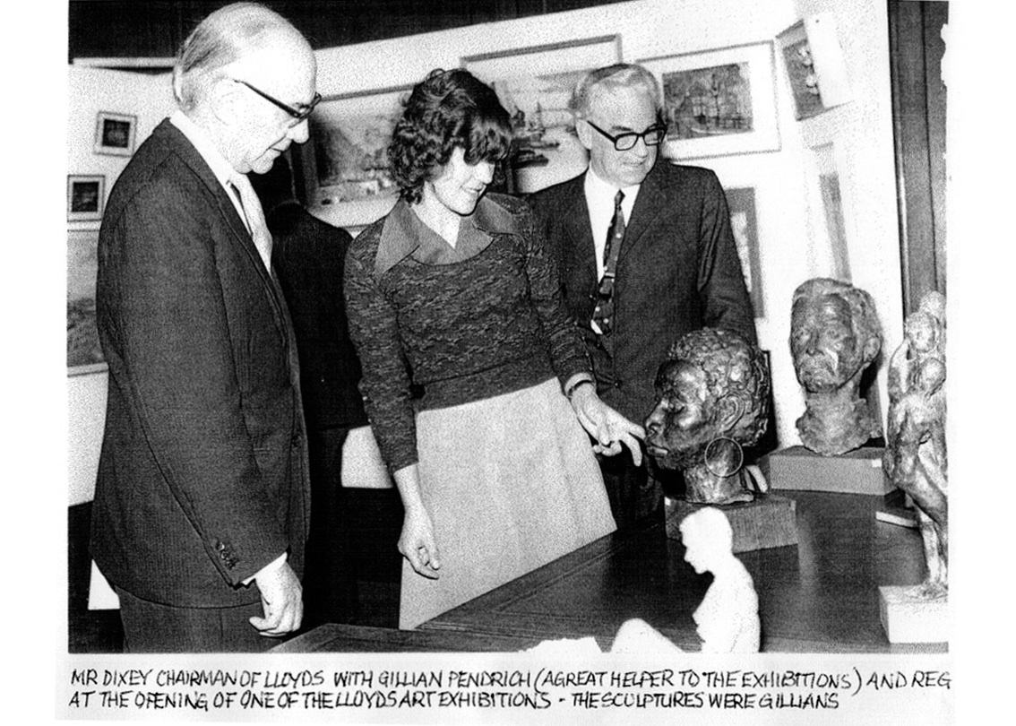 B&W photo of Chairman of Lloyd's Paul Dixey opening Lloyd's Art Exhibition 1972