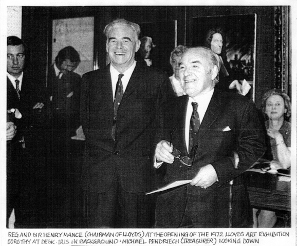 Black and white photograph of the Chairman of Lloyd's Sir Henry Mance opening Lloyd's Art Exhibition 1972