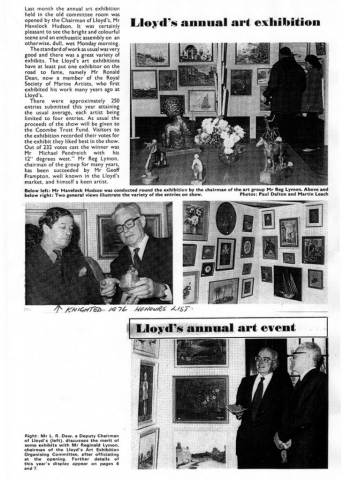B&W photo of Lloyd's Chairman Havelock Hudson at the opening of Lloyd's Art Group Autumn Exhibition 1975