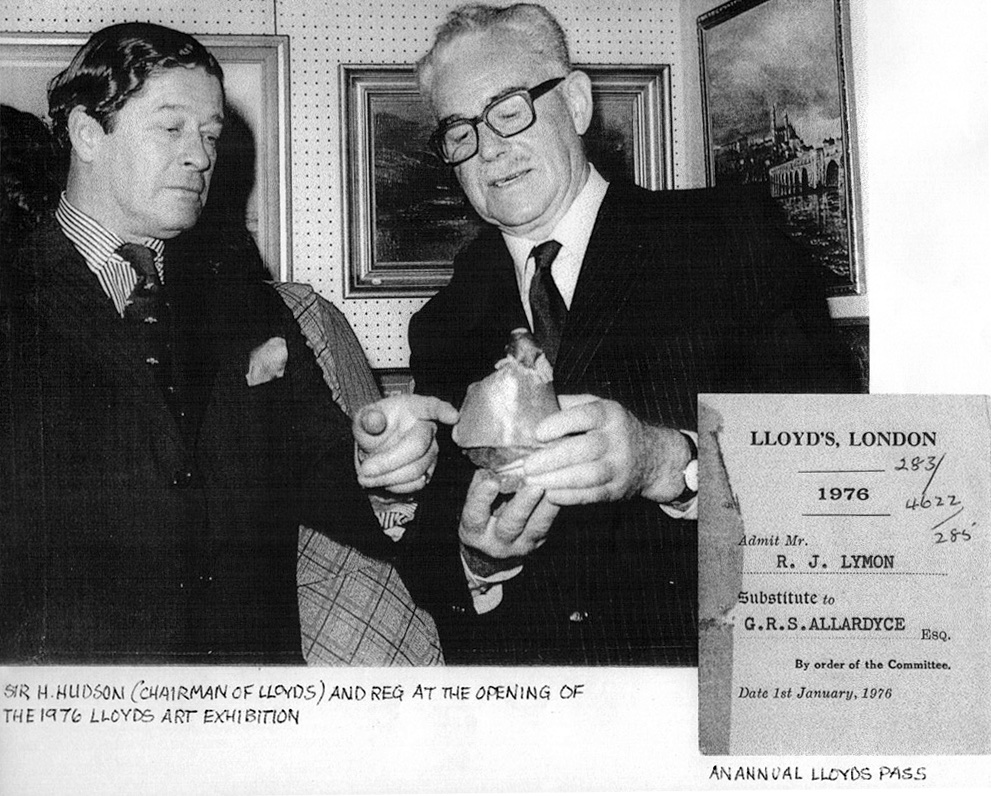 B&W photo of a Lloyd's Pass 1976 and Chairman of Lloyd's Sir Havelock Hudson at the opening of Lloyd's Art Exhibition 1976