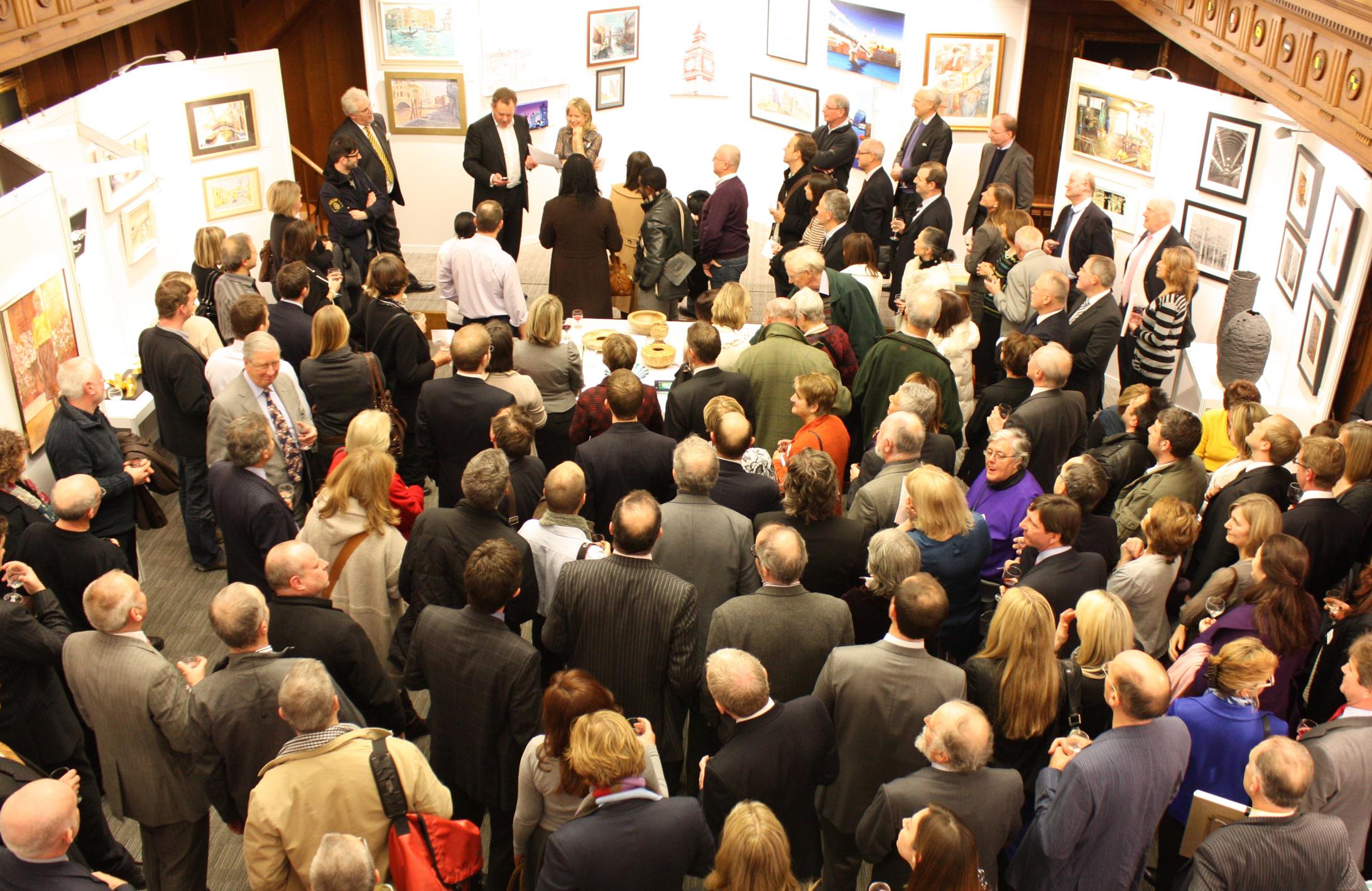 Photograph of Lloyd's Art Group Autumn Exhibition 2010 private view Susannah Hubert, Martin Hitt, David Coombe