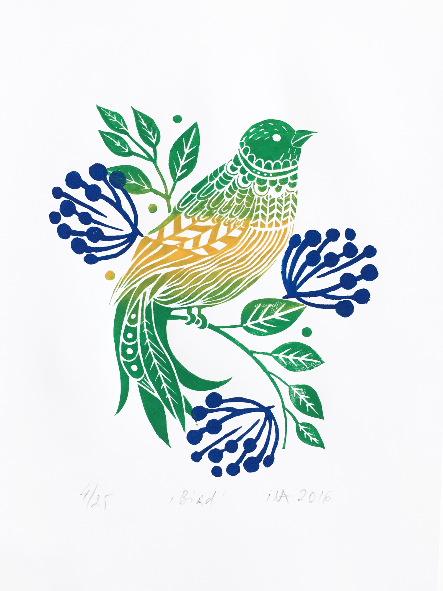 Ina Prodanova | Bird | Limited edition lino cut | 21x30cm | £35