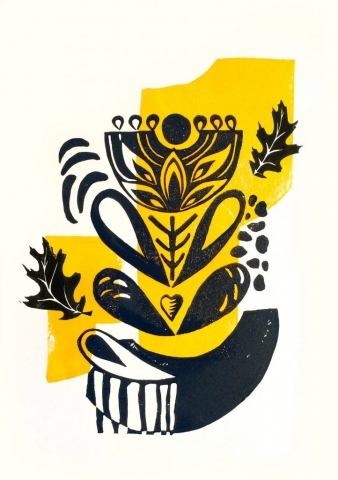 Ina Prodanova | Botanical | Limited edition lino cut | 21x30 cm | £35