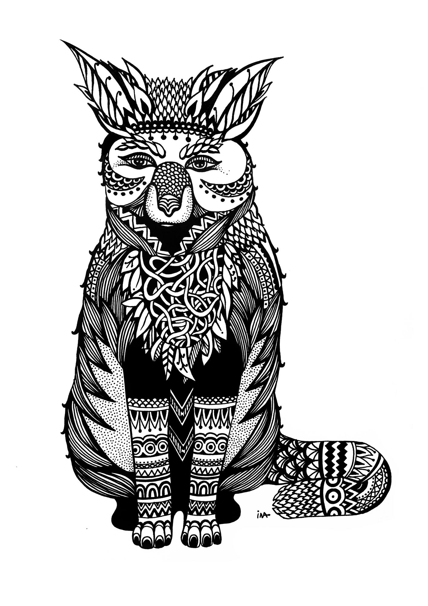 Ina Prodanova | Fox | Print reproduction of ink drawing | 21x30cm | £35
