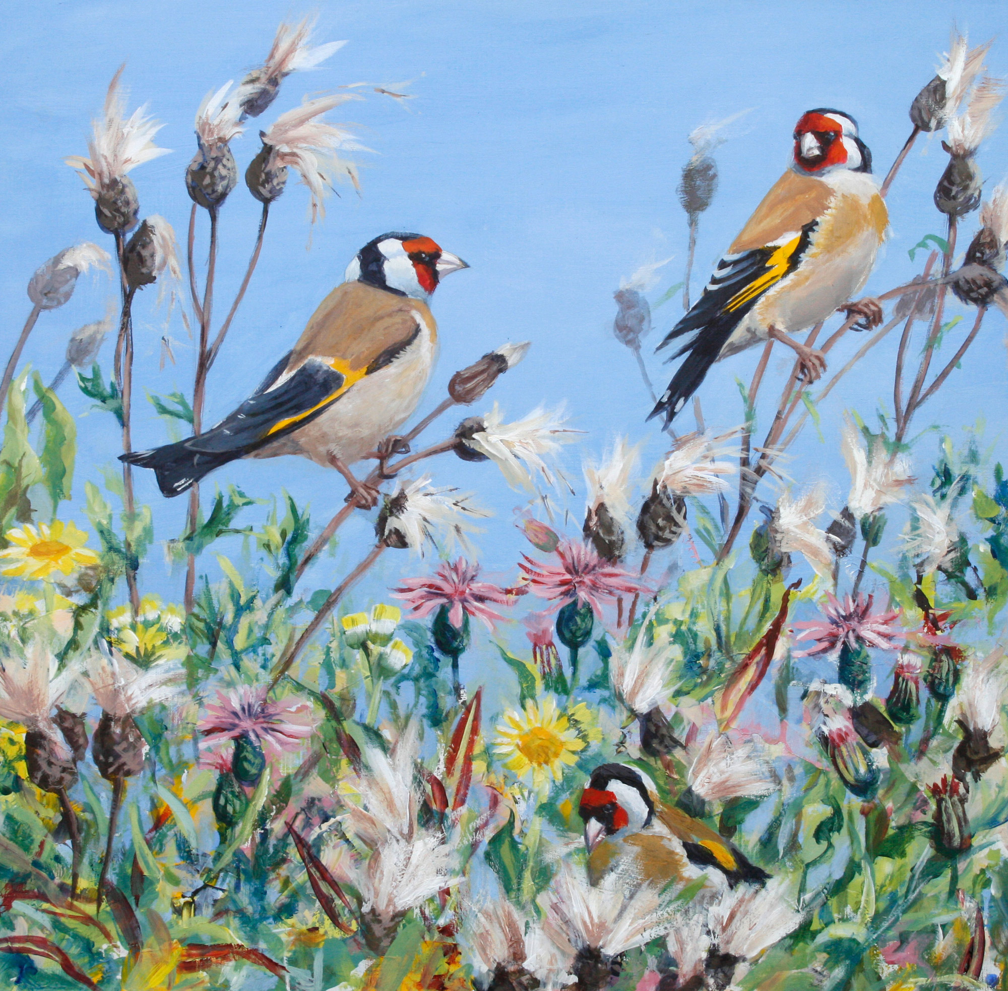 Jackie Garner | Goldies and Thistles | Acrylic | 40x39cm framed | £540