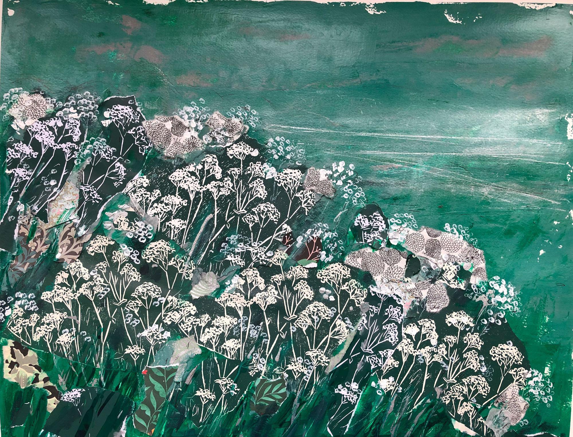 Marika Sonne | Green Flower Field | Mixed media | 50x40cm unframed | £150