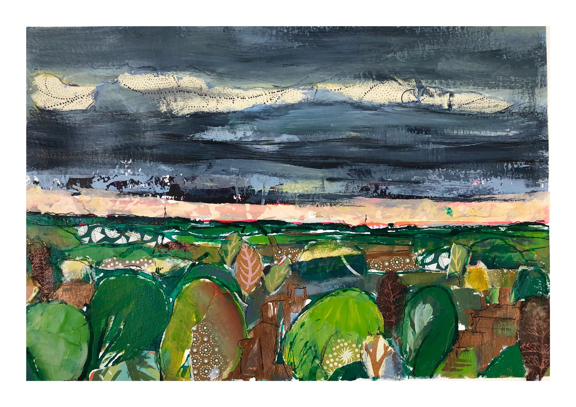 Marika Sonne | South London View in Autumn | Mixed media | 42x30cm unframed | £95