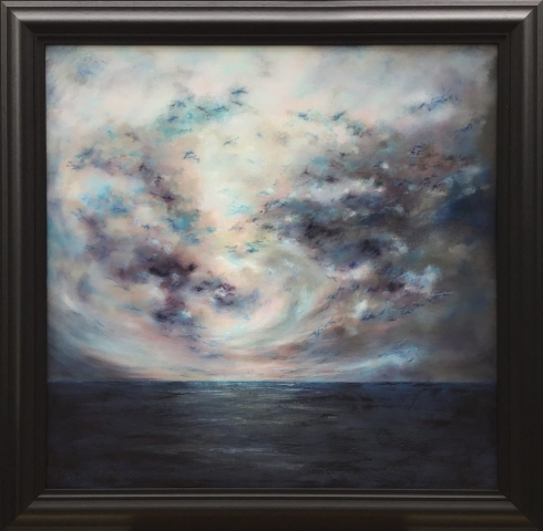 Olivia English | Indigo Up In Heaven Today | Oil on canvas | 96x96cm | £1095