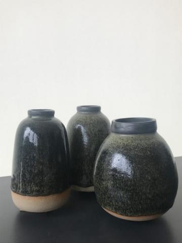 Phaedra Kouseli | Three Green Bottles | 17x9xm, 16x12cm, 15x15cm