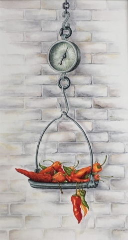 Sandra Summers | Weighed-up Chillis | Watercolour | 45x66cm | £450