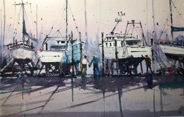 Surinder Beerh | Boat Yard 2 | Watercolour | 49x67cm | £175