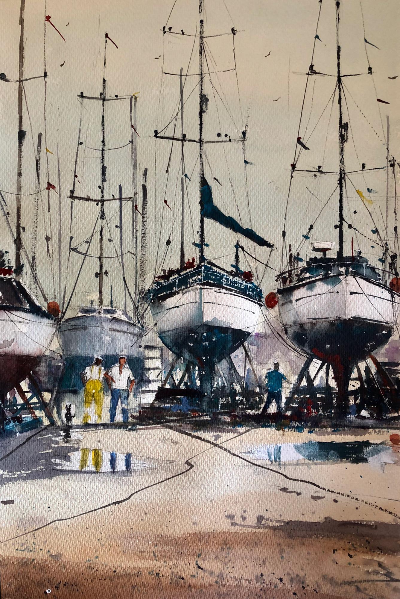 Surinder Beerh | Boat Yard | Watercolour | 49x67cm | £175