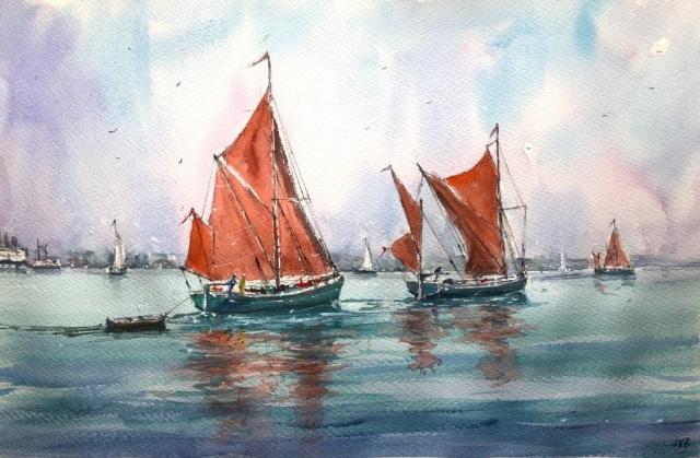 Surinder Beerh | Sailing Barges | Watercolour | 49x67cm | £175