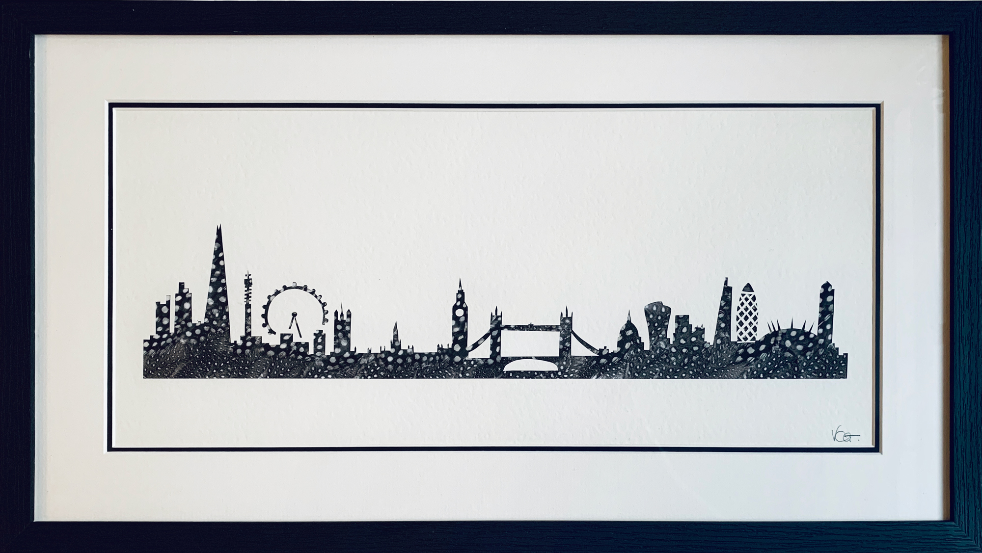 Victoria Chavasse | London City Skyline | Silhouette and feather art | 58x33cm | £445