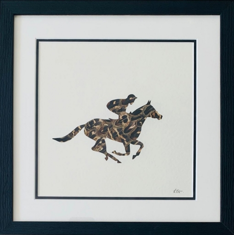 Victoria Chavasse | The Race Horse | Silhouette and feather art | 33x33cm | £95