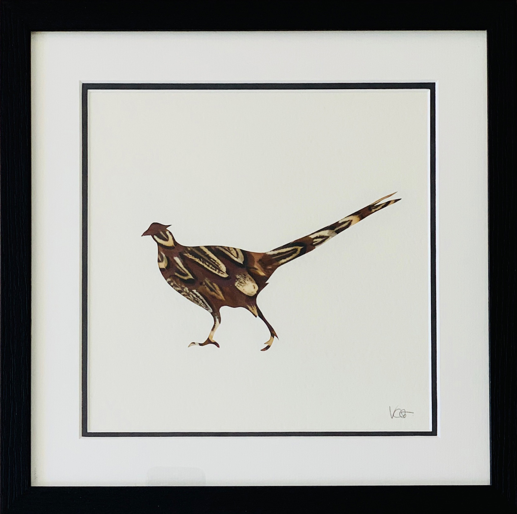 Victoria Chavasse | The Walking Pheasant | Silhouette and feather art | 33x33cm | £95