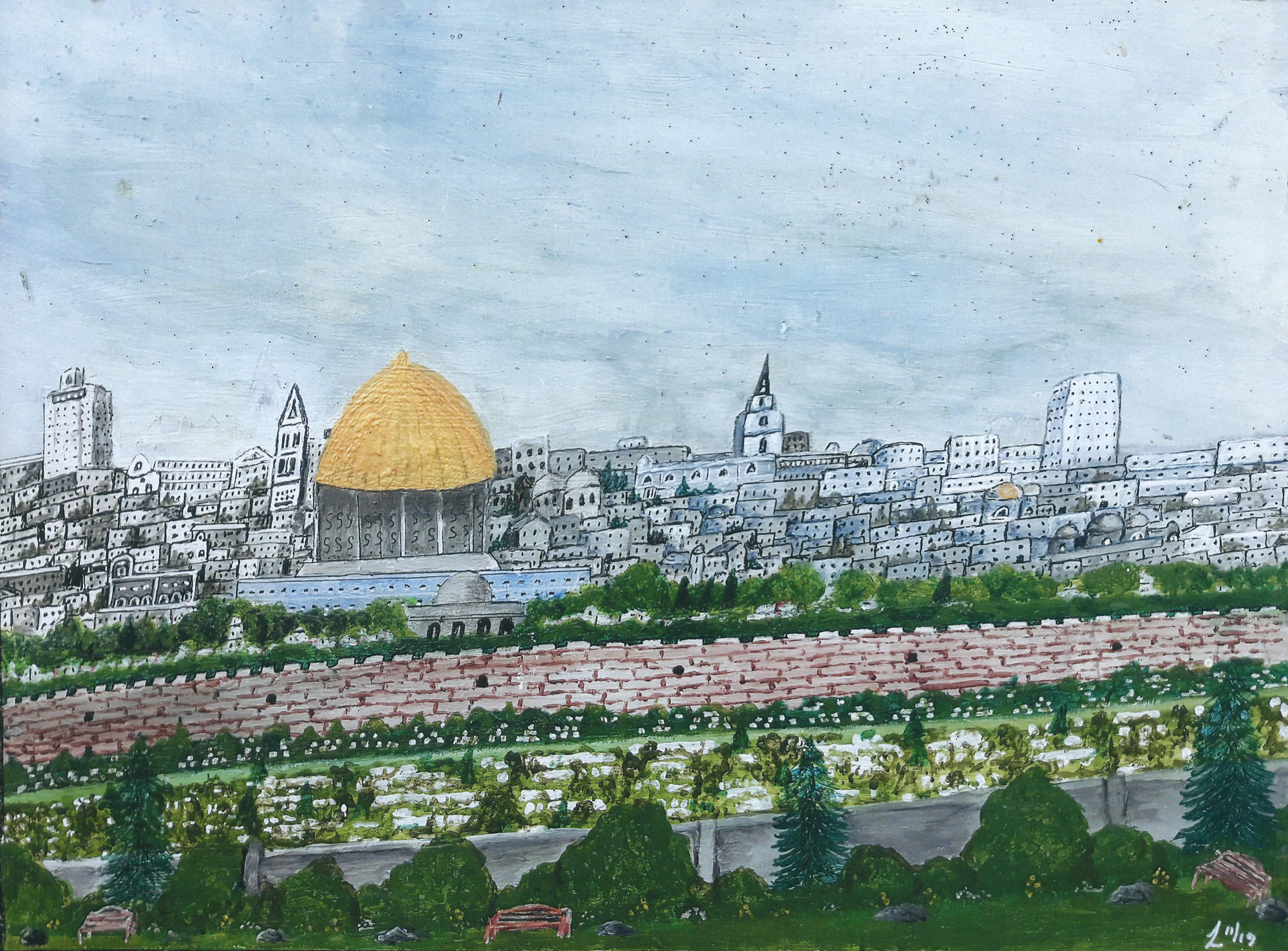 William Lethorn | Golden Temple, Jerusalem, from the Garden of Gethsemane |Acrylic on Canvas