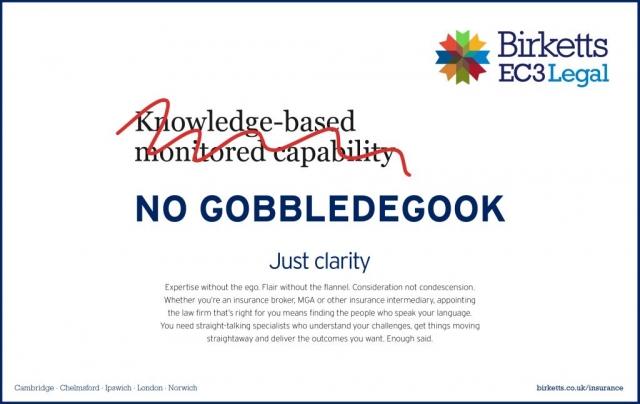 Birketts EC3 Legal advertisement 2020 No Gobbledegook