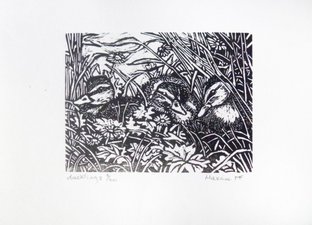 Maxine Fitter | Ducklings | Wood engraving | 10x8cm | £50