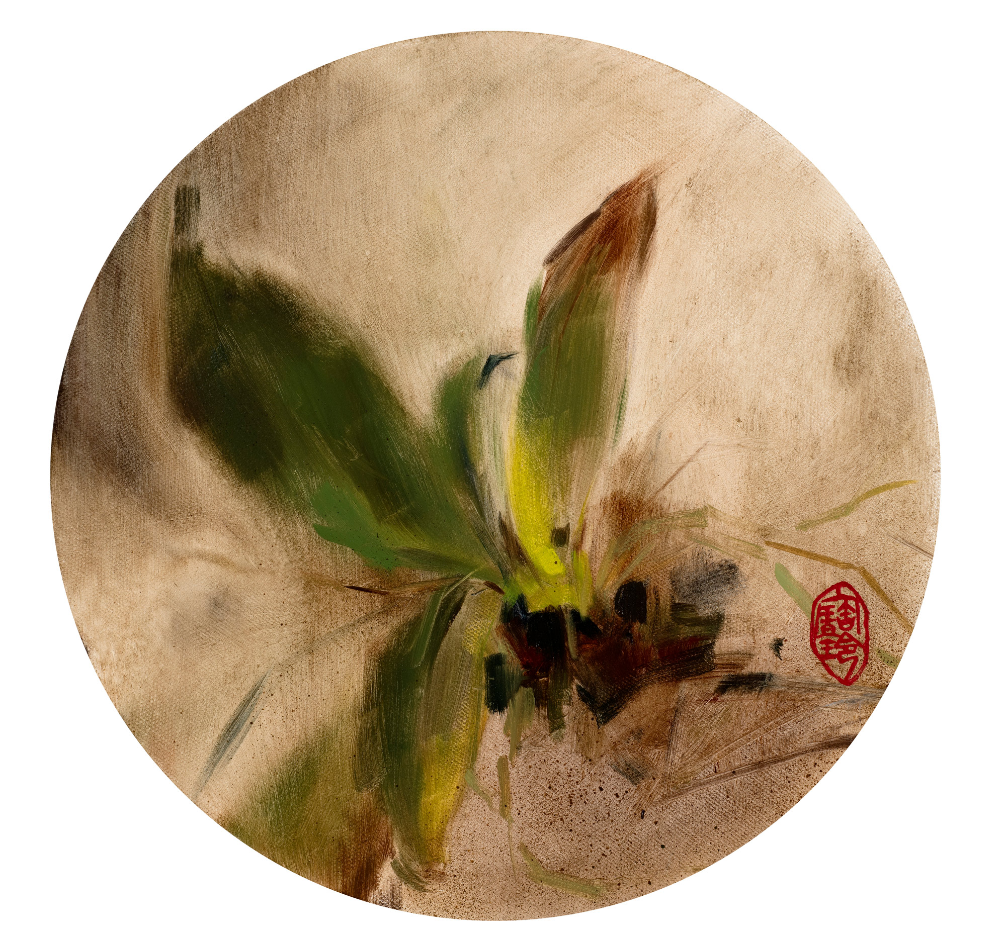 Pau Ling Yap | Fioritura (right) | Oil on circular canvas | 31cm diameter | Sold as a pair with Fioritura (left) | £4000 for pair