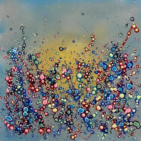 Roxy Hughes | Candy Soda Pop Bubblegum Blue | Mixed media on canvas | 57x57cm | £250