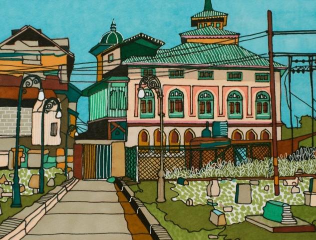 Stephanie Wilkinson | Srinagar | Promarker pen on hahnemühle fine art paper | 40x30cm | £420